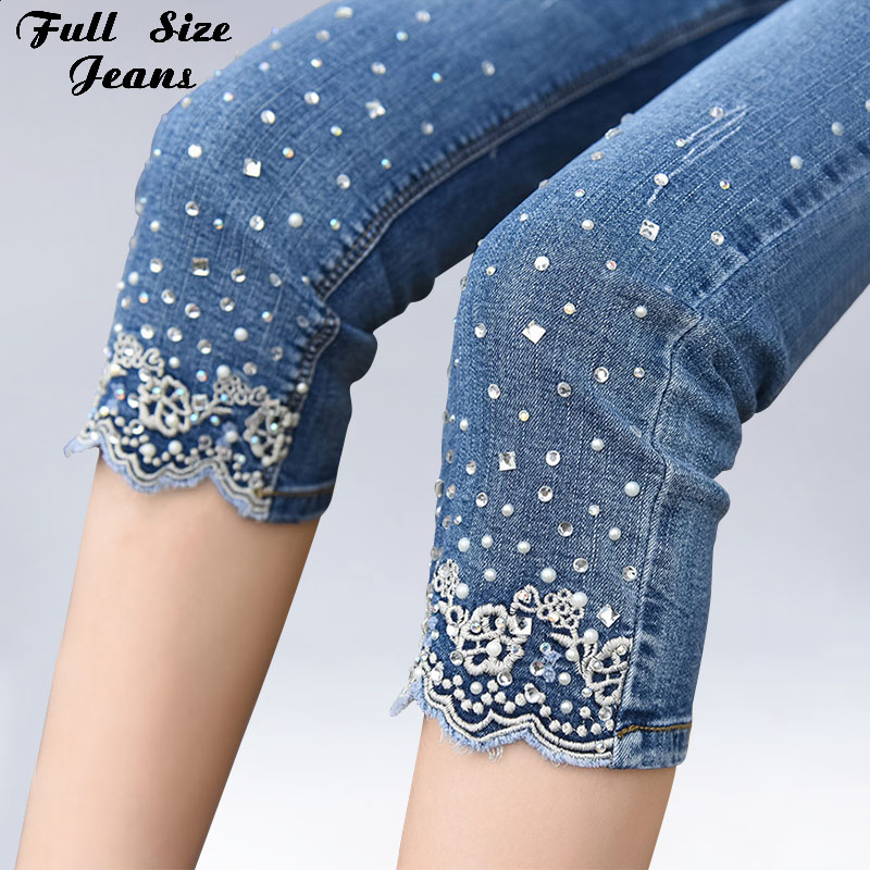 Plus Size 2018 New Women Embroidery Beading Stretch   Jeans   4XL 5XL Summer Hight Waist Calf Length Pencil Pants