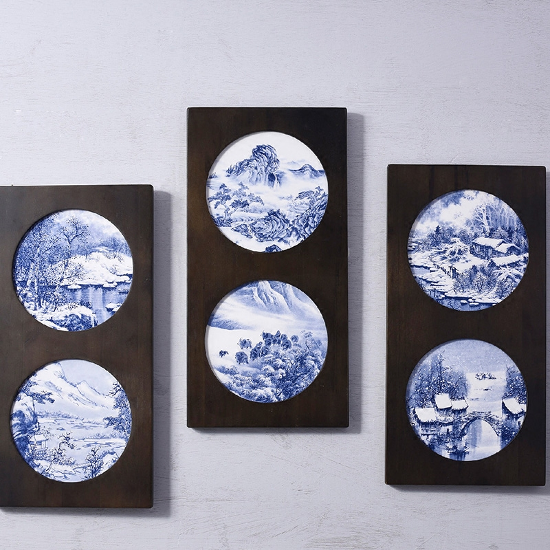 Vintage Abstract Landscape Pottery Wall Art Plate  .