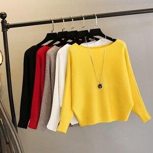 Image 1 - 여성 오프 어깨 섹시한 탄성 뜨개질 풀오버 여성 박쥐 긴 소매 니트 스웨터 여성 패션 점퍼 당겨 니트 셔츠