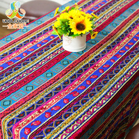 Ethnic Lace Table Cloth Table Cover Geometric Cotton Linen Fabric Dining Table Cloth Multi Sizes For