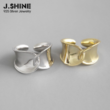 JShine Simple Wide Crossed Glossy Finger Ring 925 Sterling Silver Rings for Women 2019 New Korean Open Cuff