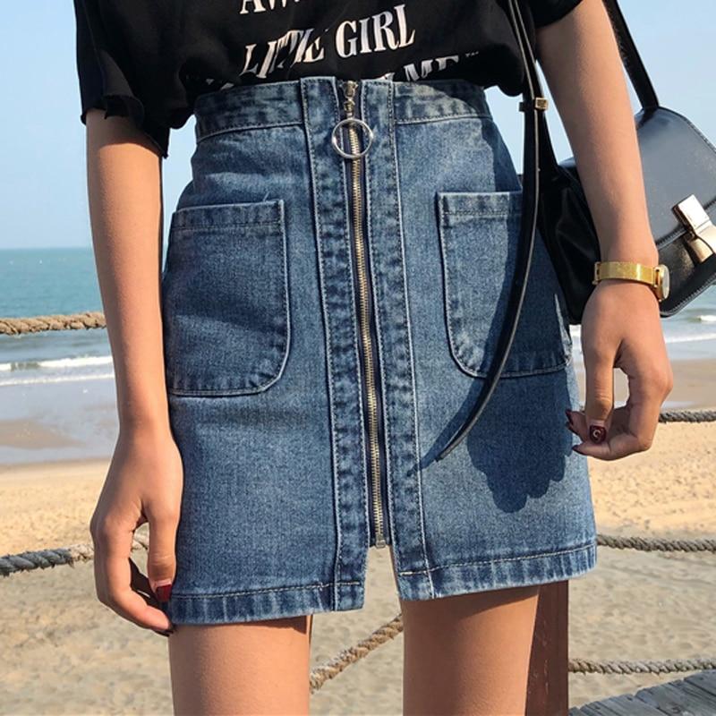 Vintage High Waist Denim Skirt Women Mini A Line Skirts Female Summer Blue Fashion Casual Zipper Big Pocket Jean skirts women-in Skirts from Women's Clothing