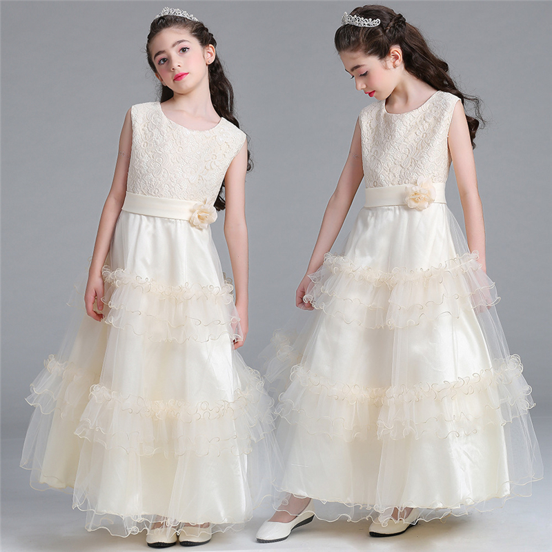 2018 Spring Newest Girls Princess Evening Dress Teenagers Dress for Wedding and Party Wear Prom Gowns Children Clothing 3-15 Yrs childrens clothing 2017 new wedding gowns kids party and evening prom wear royal blue party dresses