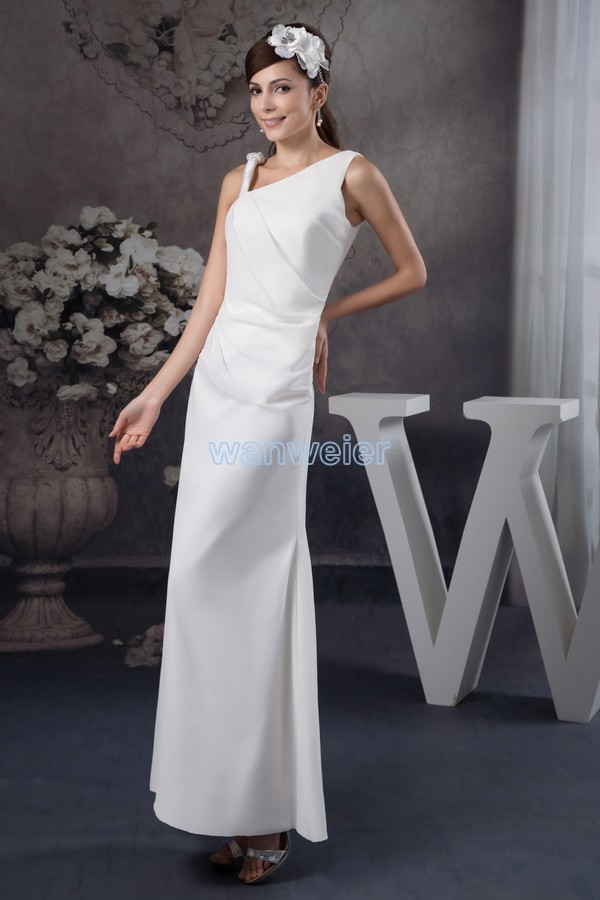 free shipping 2016 arrival hot sale fashion design one shoulder open leg real custom size/color long white sexy   bridesmaid     dress