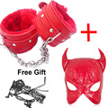 2PCS/Lot Red Women Pu Open Eyes&Mouth Bondage Head Hood Mask And Pu handcuffs Bondage Sexy Toys