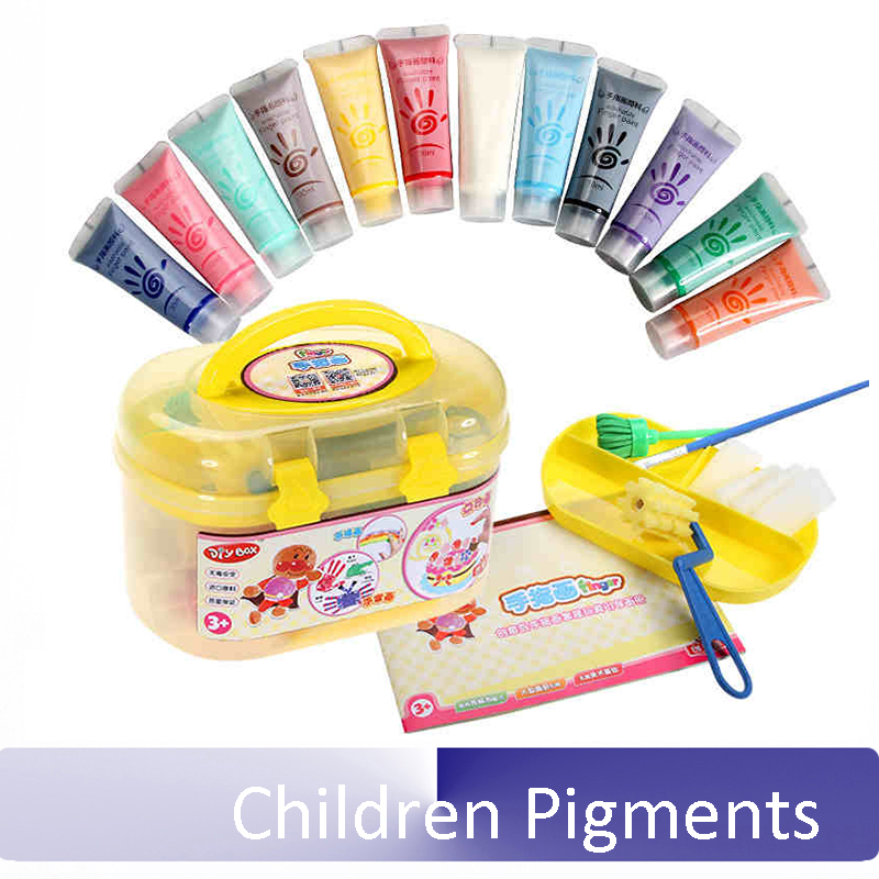 Children Pigments Non-toxic Washable Painting Set 12 or 6 color Finger Painting Watercolor Paints Handprints
