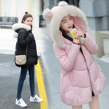 лучшая цена Warm and comfortable women Cotton coat loose thick large cotton clothing Raccoon Fur large fur collar cute Winter women's jacket