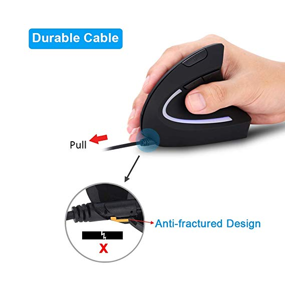 Wired 5th Gen Vertical Mouse 3200 Dots ergonomic Illuminated Light USB PC Wrist Rest Protection Mouse Computer Mouse Pad in Mice from Computer Office