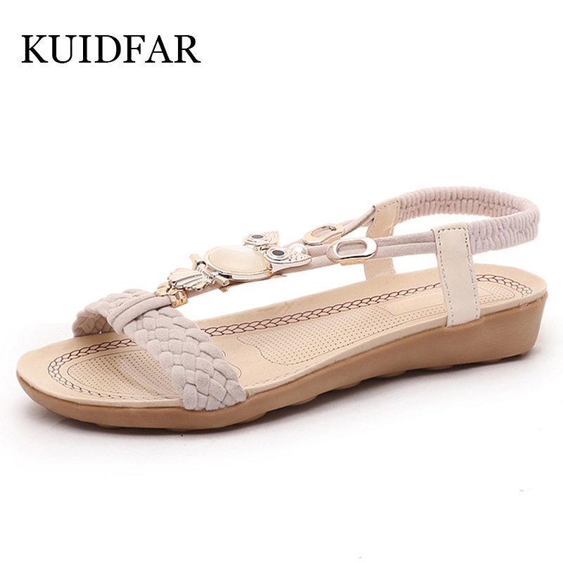 KUIDFAR Women Sandals Women shoes Flip Flops Summer Ankle Strap Sandals Femme Crystal Soft Women Shoes
