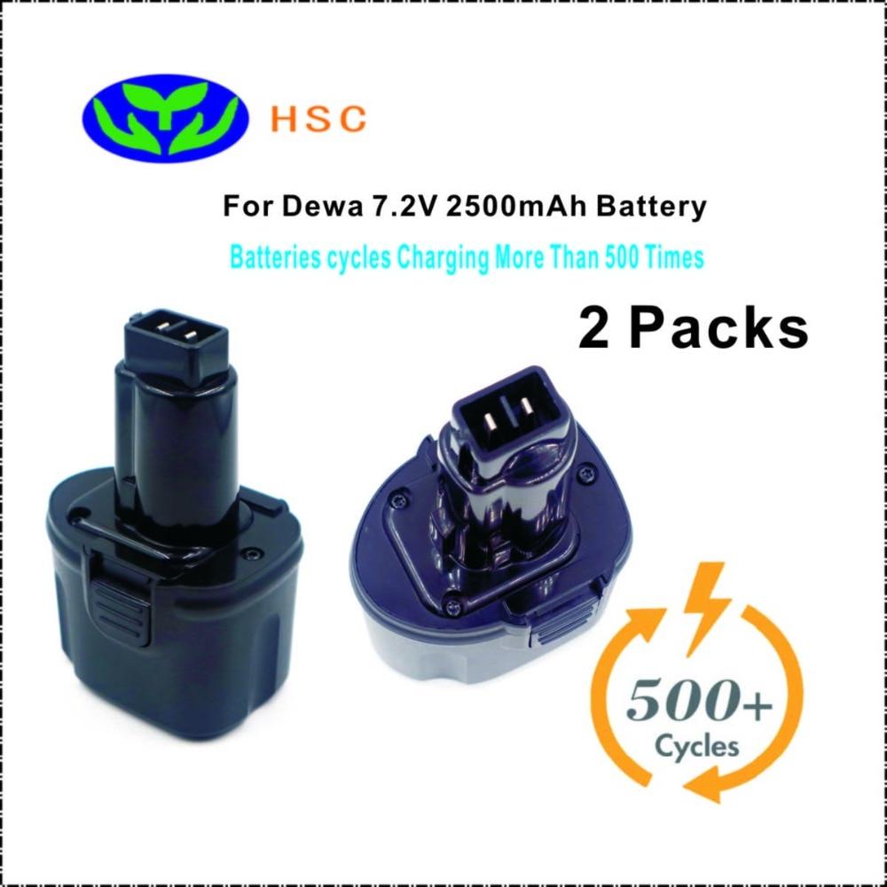 2 pièces 2.5Ah batterie Rechargeable DW7.2A NiMh batterie 7.2 V remplacement pour Dewalt DE9057 DE9085 DW9057 batterie 7.2 V-in Batteries from Electronique    1