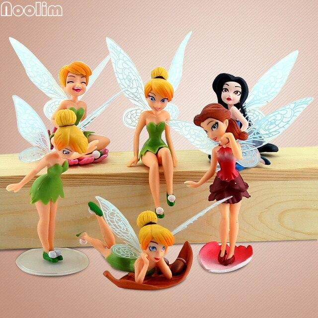 Noolim 6 Pcsset Flower Fairy Figurine Cartoon Angel Miniature