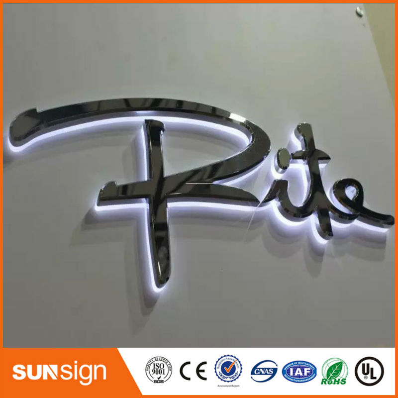 Factory Outlet Stainless Steel LED Back Lighting Letters With Acrylic Board Back Cover