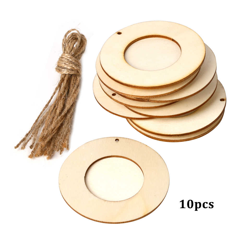 10pcs Mini Round Wood Photo Frame Picture Holder with Hanging Rope DIY Wooden Crafts for Wall Decoration