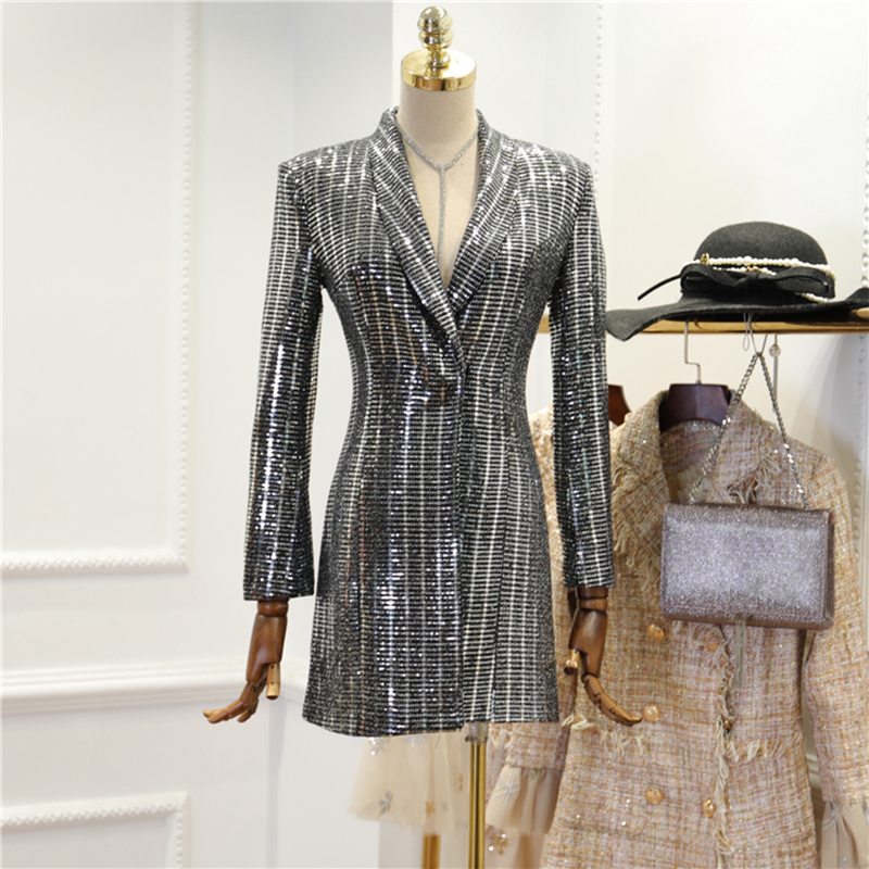 HIGH STREET New Fashion 2018 Designer Blazer Womens Long Sleeve Bling Sequined Long Blazer Outer Wear