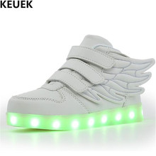 цены New Luminous Shoes Children Glowing Sneakers Student Sports Light Shoes LED Casual Boys Girls Kids PU Leather Shoes Flats 018