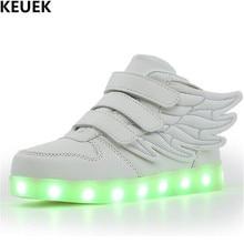 New Luminous Shoes Children Glowing Sneakers Student Sports Light Shoes LED Casual Boys Girls Kids PU Leather Shoes Flats 018 недорго, оригинальная цена