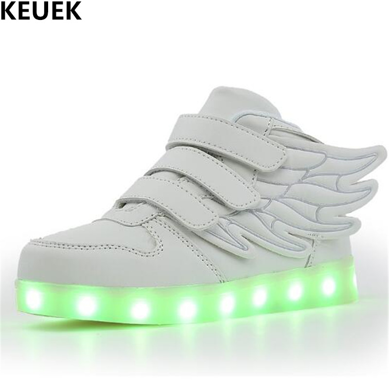New Luminous Shoes Children Glowing Sneakers Student Sports Light Shoes LED Casual Boys Girls Kids PU Leather Shoes Flats 018
