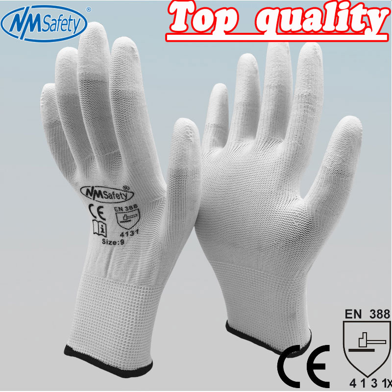 NMSAFETY PU ESD Work Gloves Nylon PU Gloves ESD Working Gloves PU Anti Static Work Gloves