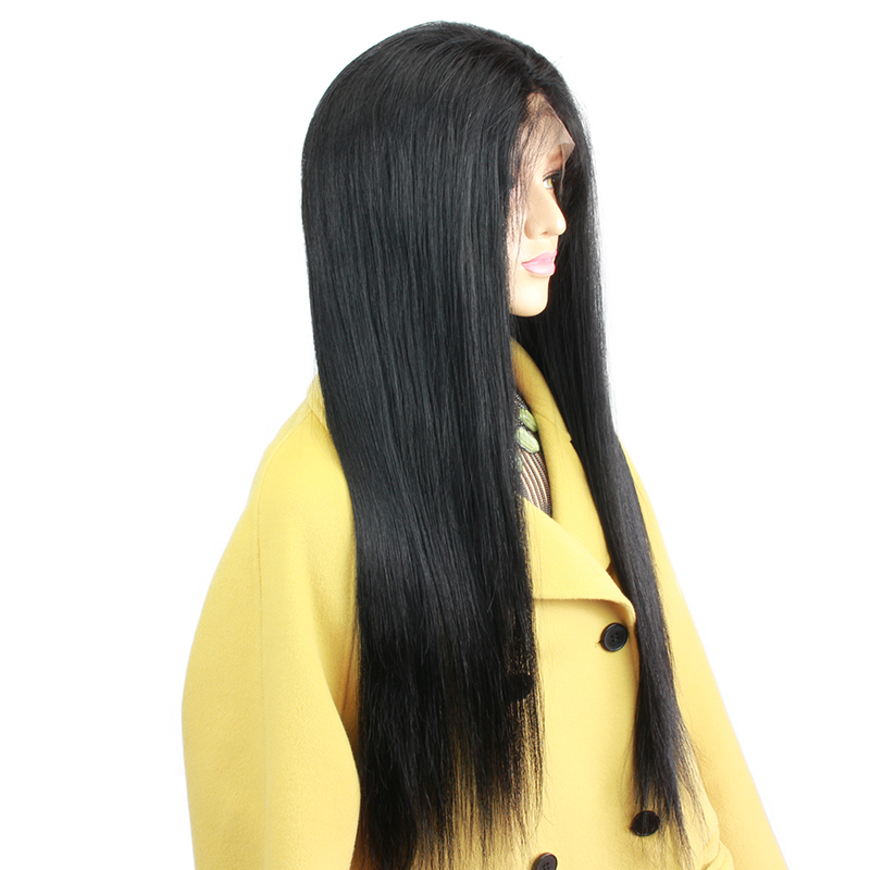Jet Black #1 Silky Straight 180 Density Full Lace Wigs For Black Women Brazilian Remy Human Hair Wigs Baby Hair Women Eseewigs