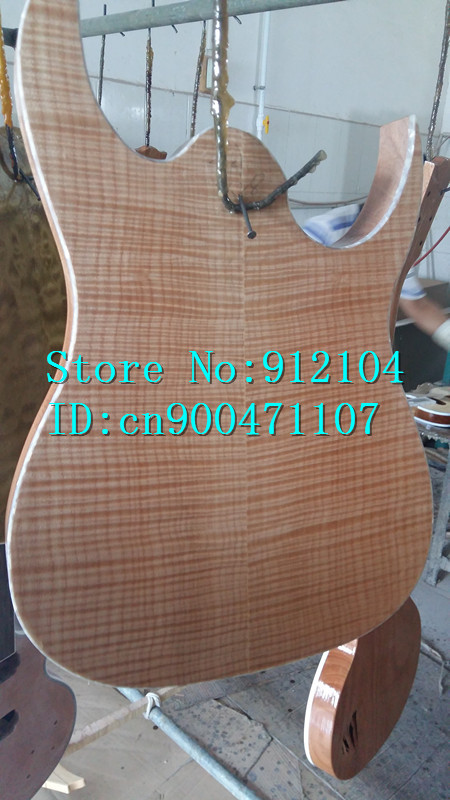 new Big John double wave 7 strings electric guitar sticking tiger stripes maple mahogany body without hardware F-2139 free shipping big john new electric bass guitar mahogany body in natural color f 1934