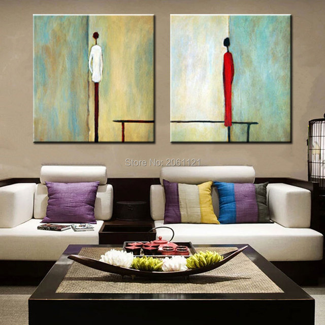Modern Living Room Decoration Wall Painting Boy And Abstract Lover Oil On
