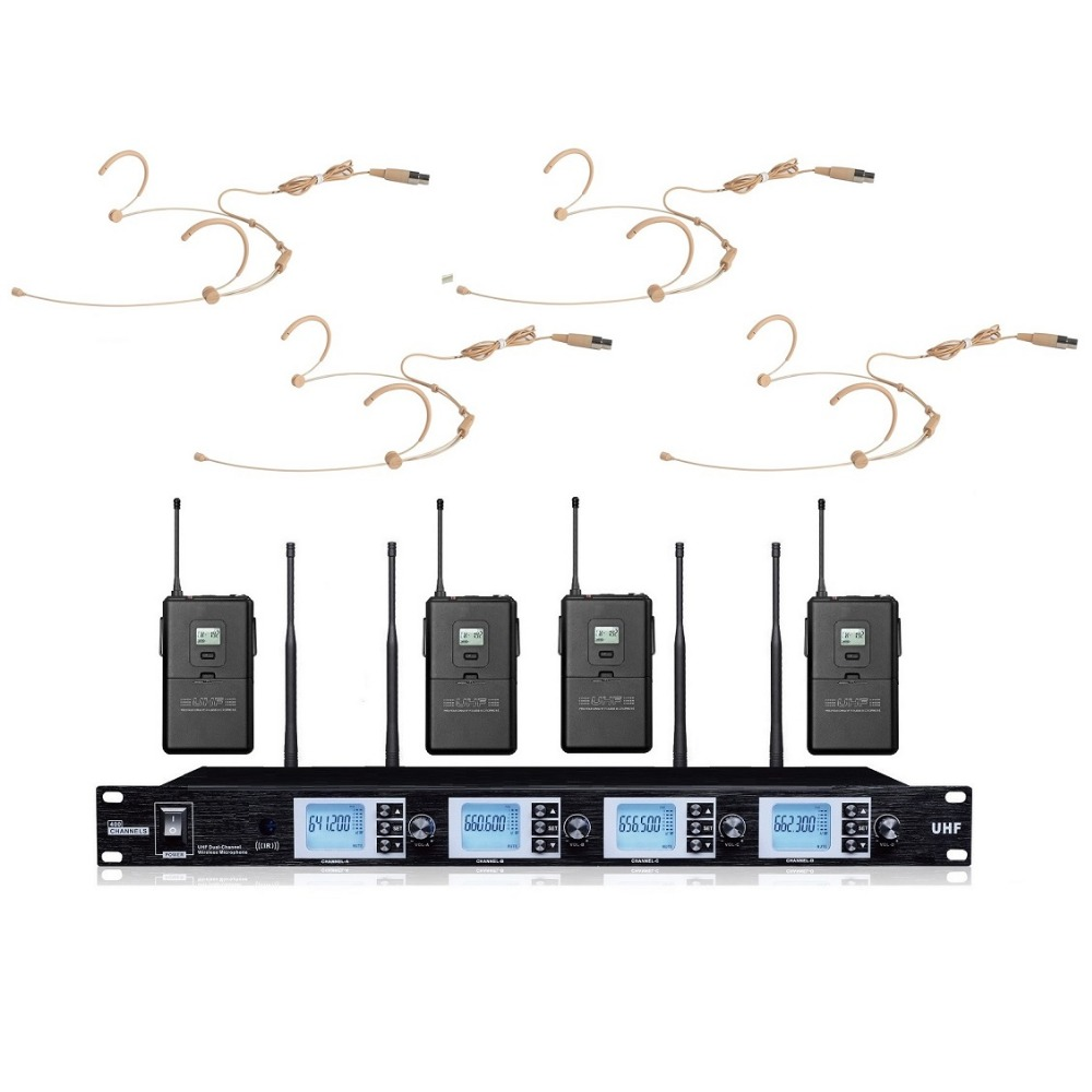 Bolymic Professional 4X100 Channel UHF outdoor stage performance wireless microphone system
