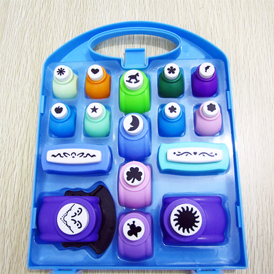 Free shipping of craft punch set 16pcs pp box for scrapbook handmade paper punches for DIY