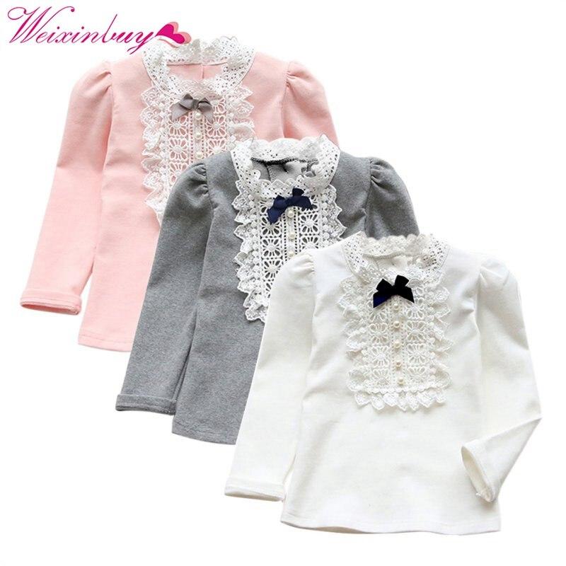 Otoño Invierno primavera niño niños bebé Niñas Niños cute bowknot camisa manga larga princesa ruffle Tops ropa