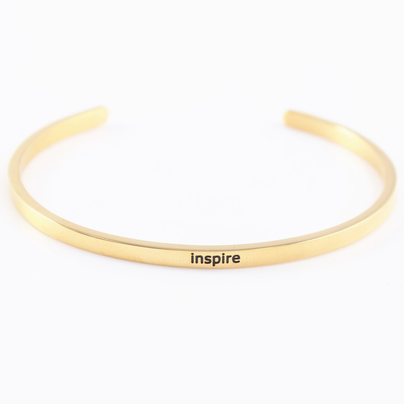 Inspire 316L Stainless Steel Engraved Positive Inspirational Quote Cuff bracelet Women's Jewelry Gold Mantra Bangle
