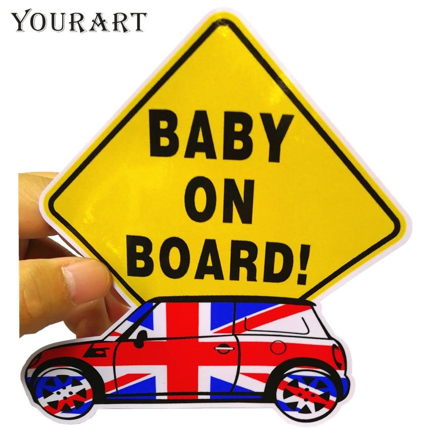 Yourart Baby On Board Sticker Car Styling Decalcomania del vinile Adesivi per auto Accessori per MINI Cooper S Countryman R56 R50 R53 F56 F55