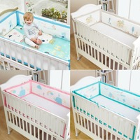 4Pcs Cartoon Baby Cot Crib Bumper Baby Breathable Mesh Universal Anti collision Protector Bed Surrounding Kit Bedding Supplies