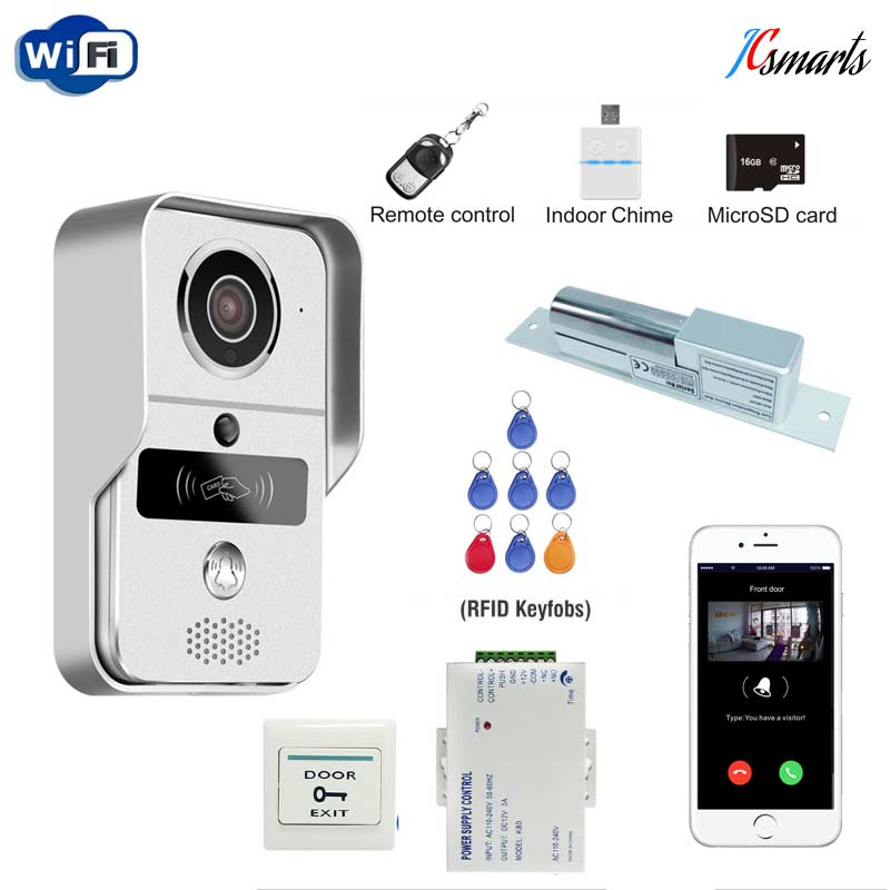 RFID Reader Wifi 720P HD Video Doorbell Intercom Phone Camera for Android IOS Phone With Electric Strike Lock for Door Access rfid reader wifi 720p hd video doorbell intercom phone camera for android ios phone with electric strike lock for door access