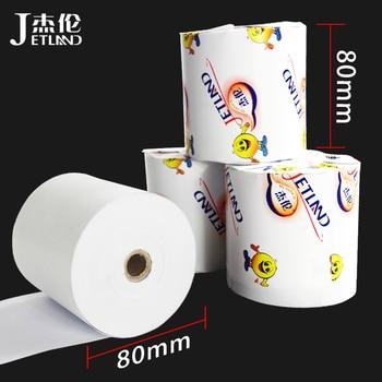 (2 rolos por lote) jetland papel térmico 80x80mm, recibo de caixa registradora premium rolo de papel 3 1/8