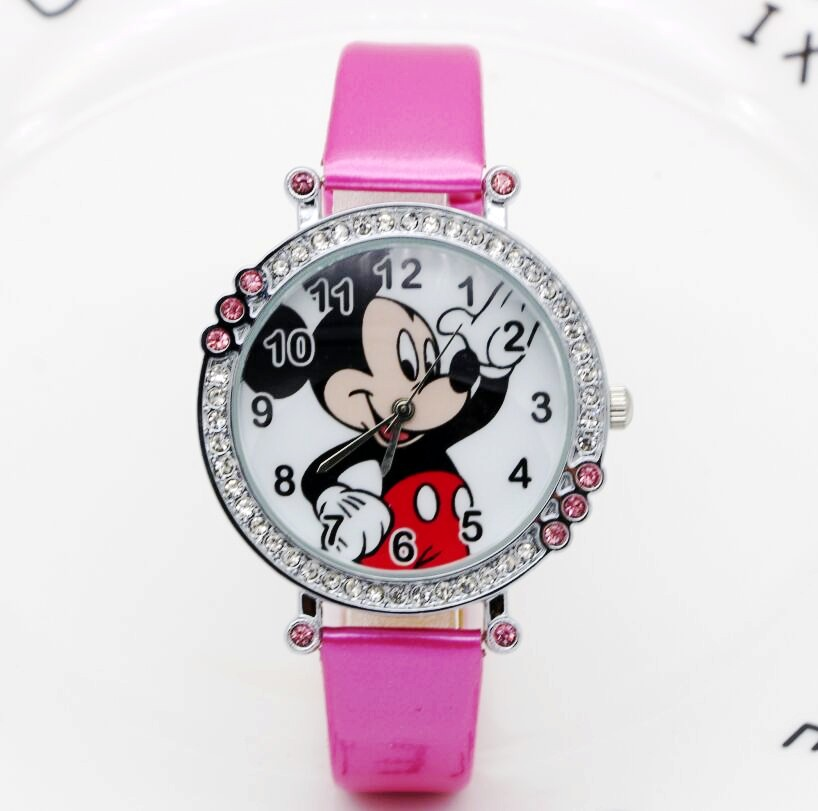 Cartoon Quartz Wristwatch Children Hot Sale Leather Watch Mickey Fashion Diamond Casual Watches Kid Boy Women Girls Cute Relojes
