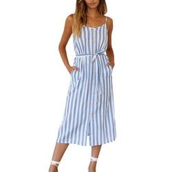 """Moda stałe pani ubrania damskie Boho Stripe Camisole sukienka bez rękawów damska koszulka z dekoltem w kształcie litery """"o"""" letnia sukienka imprezowa sukienka 4"""