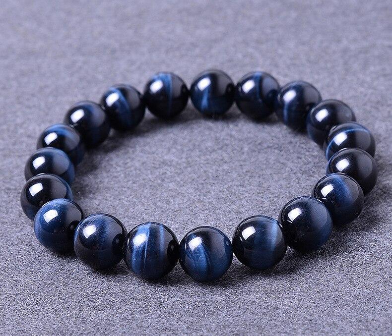 16mm bleu œil de tigre pierre naturelle bracelets pour femme et hommes bijoux cristal argent bracelets porte-bonheur bracelets chaîne de corde élastique
