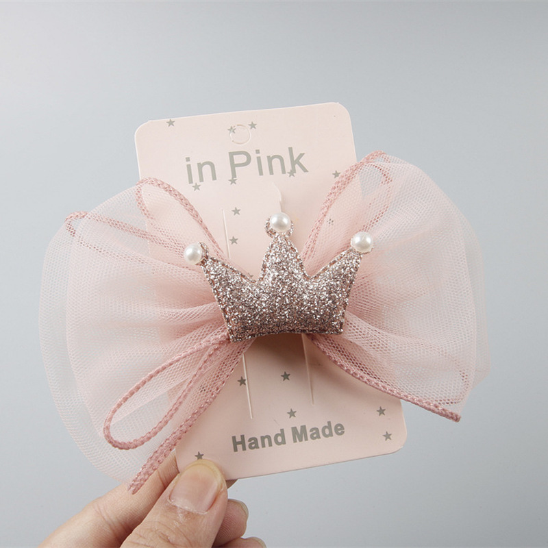 Korean Fashion Children's Hairpin Headdress Beautiful Girl Princess Mesh Bowknot Crown Hair Clip Birthday Gifts Hair Accessories