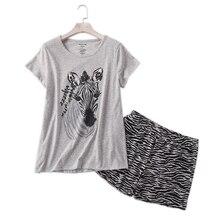 Casual zebra sommer shorts nachtwäsche frauen pyjamas sets 100% baumwolle niedlichen cartoon damen pyjamas pijamas mujeres nachtwäsche