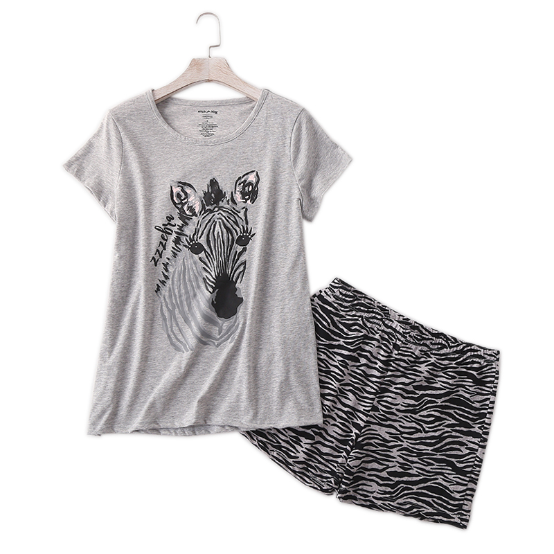 Casual Zebra Summer Shorts Sleepwear Women Pajamas Sets 100% Cotton Cute Cartoon Ladies Pyjamas Pijamas Mujeres Sleepwear