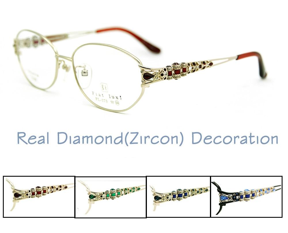 "Fiat Lux ""Original Brand Eyeglasses Frames for Glasses Women Optical in Real Diamond Full Rim Titanium Free Shipping"