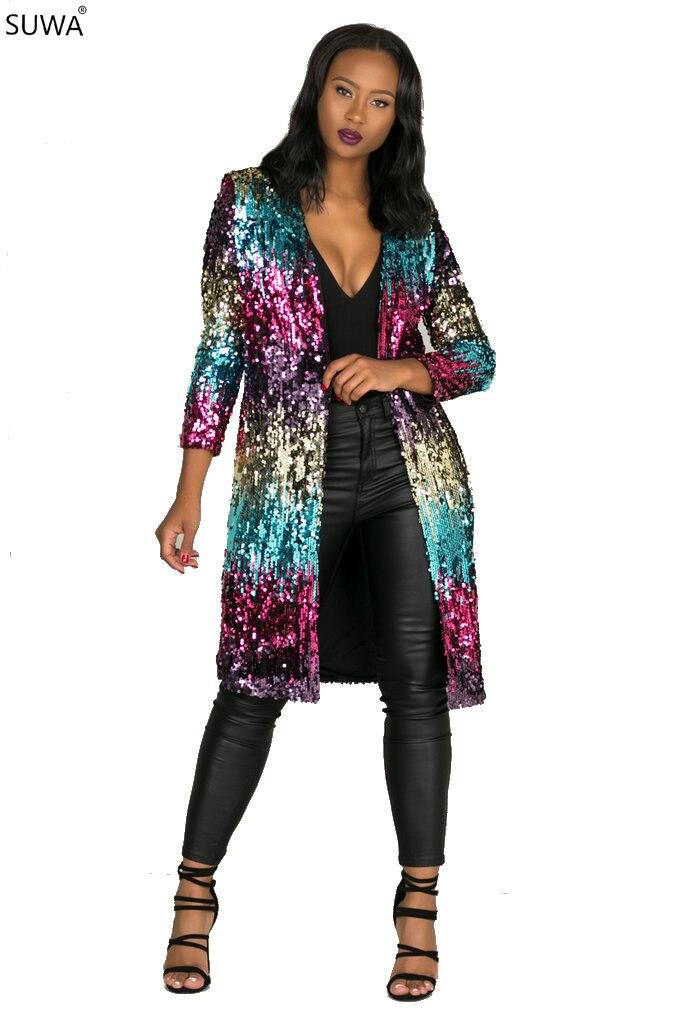 Hoogwaardige Mode Dames Sequin Jacket Lange Mouwen Party Show Lange Stijl Vrouwen Jas En Jas Winter Kleding Ts681 Om Een Gevoel Op Gemak En Energiek Te Maken
