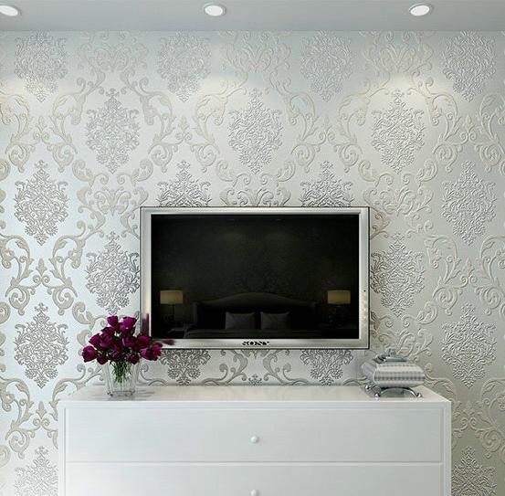 creamy-white living room bedroom damask wallpaper  цены