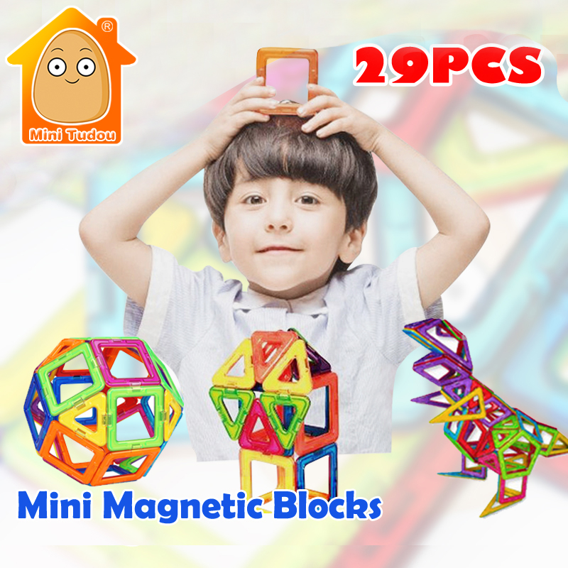 MiniTudou Mini Magnetic Designer Set 29PCS 36PCS 3D Magnetic Construction Building Toy Educational DIY Bricks Toys For Children