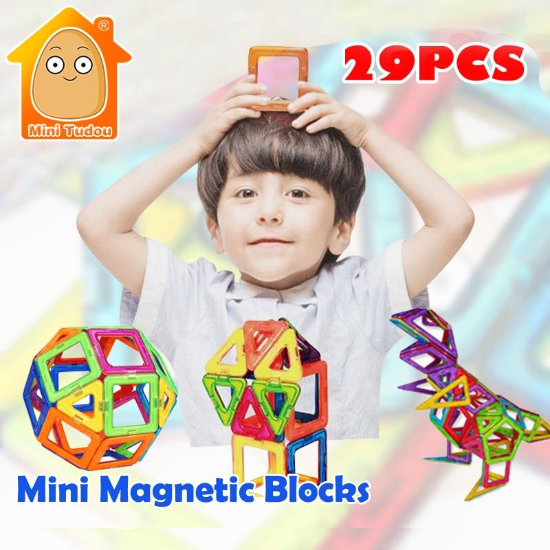 Minitudou Мини Магнитный конструктор Набор 29 шт. 36 шт. 3D Магнитные Строительство Игрушка образования DIY Кирпичи Игрушечные лошадки для детей