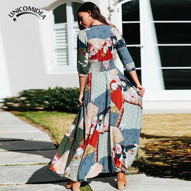 8a28ff64dd1 ... 2019 New Long Flower Dress Retro Bohemian Maxi Dress Sexy Ethnic Deep  V-neck Floral ...