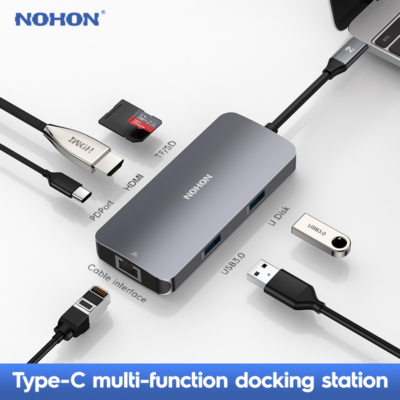 Nohon Thunderbolt 3 Dock adaptateur USB Type C à 3.0 HUB HDMI type-c convertisseur pour MacBook Huawei Mate 20 P20 Pro adaptateur de USB-C