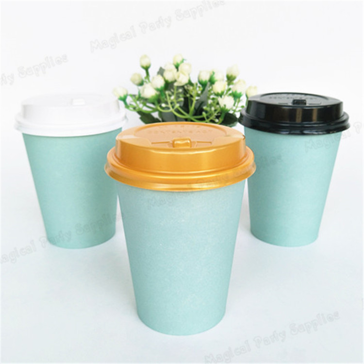Free Ship 30pcs Tiffany Paper Cup 14oz Lovely Blue Vintage Style Drinking Cup with Lids Hot Beverage Drink Coffee Milk Tea Cups cup