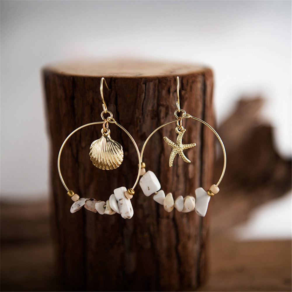 New 2019 Shell Starfish Natural Stone Earring For Women Gold Color Dangle Statement Jewelry