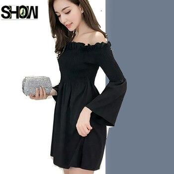 Cute Mini Off Shoulder Dresses Japan Style Women Fashion Autumn Design Slim A Line Ladies Sexy Party Tunic Little Black Dress Top