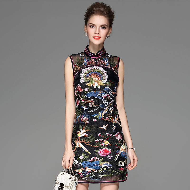 2018 Chinese Traditional evening gown Black Cheongsam Embroidery ...